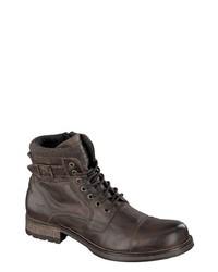 dunkelbraune Lederfreizeitstiefel von Mustang Shoes