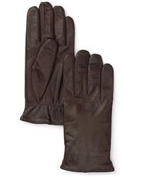 dunkelbraune Lederhandschuhe