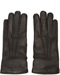dunkelbraune Lederhandschuhe von Belstaff