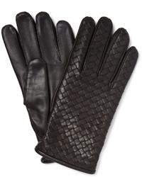 dunkelbraune Lederhandschuhe von Bottega Veneta