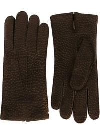dunkelbraune Lederhandschuhe von Canali