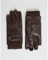 dunkelbraune Lederhandschuhe von French Connection