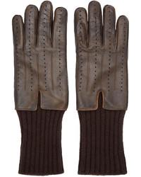 dunkelbraune Lederhandschuhe von Haider Ackermann