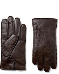 dunkelbraune Lederhandschuhe von Polo Ralph Lauren