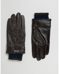 dunkelbraune Lederhandschuhe von Ted Baker