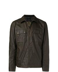 dunkelbraune Shirtjacke aus Leder von Belstaff