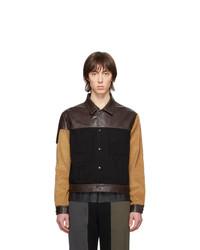 dunkelbraune Shirtjacke aus Leder von GR-Uniforma