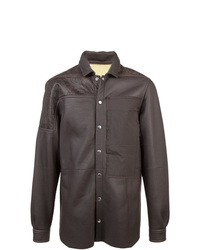 dunkelbraune Shirtjacke aus Leder von Rick Owens