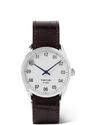 dunkelbraune Lederuhr von Tom Ford Timepieces