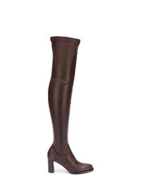 dunkelbraune Overknee Stiefel aus Leder von Stella McCartney