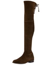 dunkelbraune Overknee Stiefel aus Wildleder