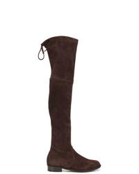 22d2b3e54983a dunkelbraune Overknee Stiefel aus Wildleder von Stuart Weitzman