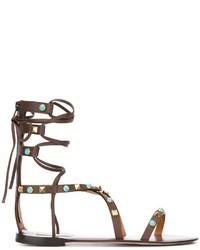 dunkelbraune Römersandalen aus Leder von Valentino