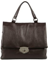 dunkelbraune Satchel-Tasche aus Leder