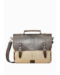dunkelbraune Satchel-Tasche aus Leder von Dreimaster
