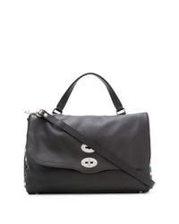 dunkelbraune Satchel-Tasche aus Leder von Zanellato