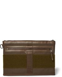 dunkelbraune Segeltuch Clutch Handtasche
