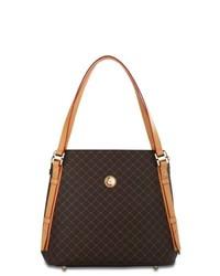 dunkelbraune Shopper Tasche aus Leder mit Karomuster