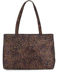 dunkelbraune Shopper Tasche aus Leder mit Leopardenmuster
