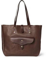 dunkelbraune Shopper Tasche aus Leder
