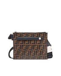 dunkelbraune Shopper Tasche aus Leder von Fendi