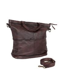 dunkelbraune Shopper Tasche aus Leder von Freaky Nation