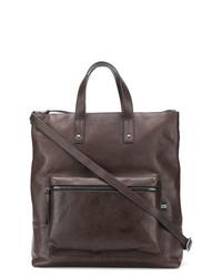dunkelbraune Shopper Tasche aus Leder von Green George