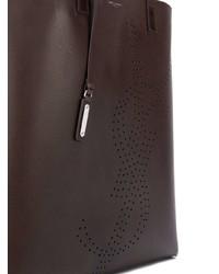 dunkelbraune Shopper Tasche aus Leder von Saint Laurent