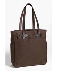 dunkelbraune Shopper Tasche aus Segeltuch