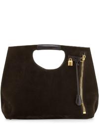 dunkelbraune Shopper Tasche aus Wildleder