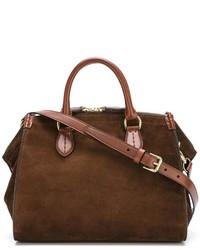 dunkelbraune Shopper Tasche aus Wildleder von Ralph Lauren