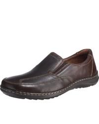 dunkelbraune Slip-On Sneakers aus Leder von Waldläufer