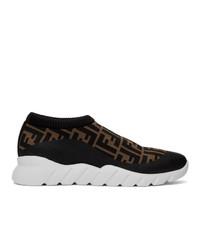 dunkelbraune Slip-On Sneakers aus Segeltuch von Fendi