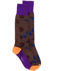 dunkelbraune Socken mit Blumenmuster von Marni