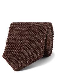 dunkelbraune Strick Krawatte von Caruso