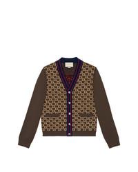 dunkelbraune Strickjacke von Gucci