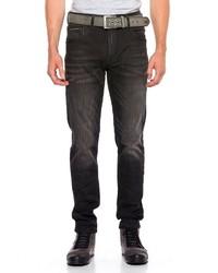dunkelbraune vertikal gestreifte Jeans von Cipo & Baxx