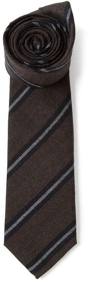 dunkelbraune vertikal gestreifte Krawatte von Brunello Cucinelli