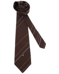 Dunkelbraune vertikal gestreifte Krawatte von Pierre Cardin