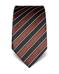 dunkelbraune vertikal gestreifte Krawatte von Vincenzo Boretti