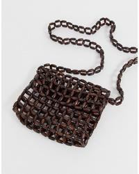 dunkelbraune verziert mit Perlen Umhängetasche von Mango