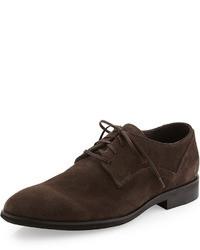 dunkelbraune Wildleder Derby Schuhe