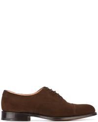 dunkelbraune Wildleder Oxford Schuhe von Church's