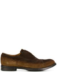 dunkelbraune Wildleder Oxford Schuhe von Officine Creative