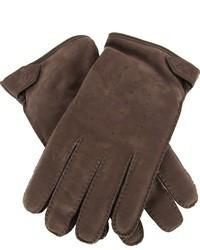 dunkelbraune Wildlederhandschuhe von Brioni
