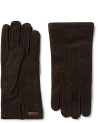 dunkelbraune Wildlederhandschuhe von Prada