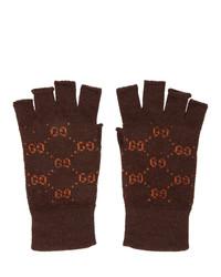 dunkelbraune Wollhandschuhe von Gucci