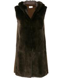 dunkelbrauner ärmelloser Mantel von Yves Salomon