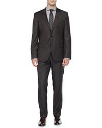 dunkelbrauner Anzug mit Karomuster