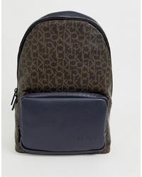 dunkelbrauner bedruckter Leder Rucksack von Calvin Klein